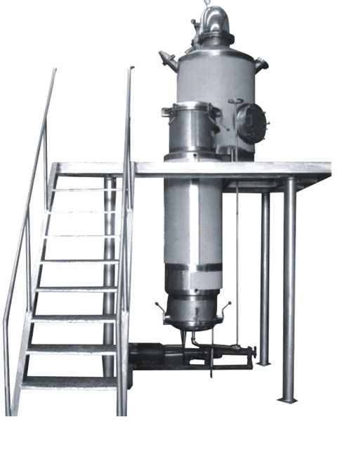 Rising film evaporator concentration tank